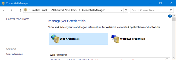 Credentials Manager in Windows 10