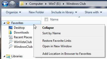 Add Folder or Library to Favorites Link