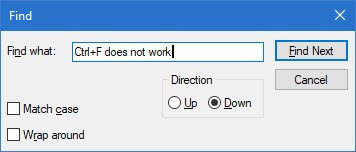 Ctrl+F does not work