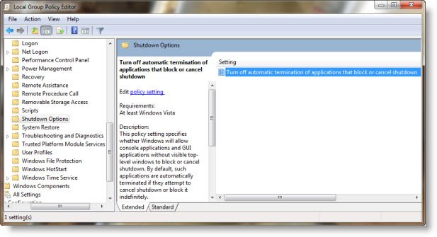 Disable automatic termination of applications during shutdown
