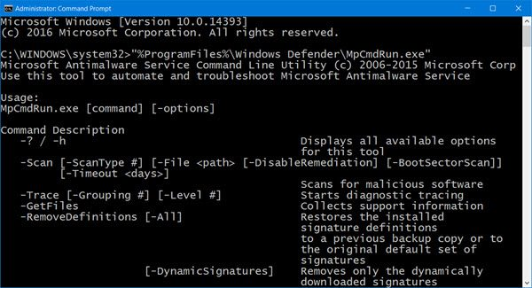 run Windows Defender from the Command Line