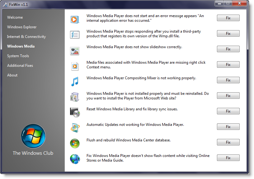 fix windows media player