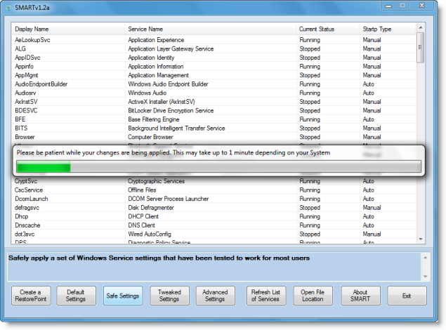SMART1.2a SMART: A Utility For Tweaking Windows 7, Vista, XP Services Released.
