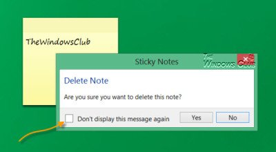 Windows Sticky Notes delete confirmation prompt