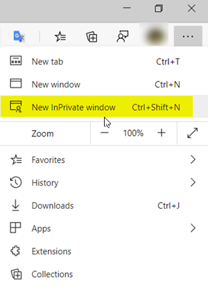 InPrivate window in Edge browser