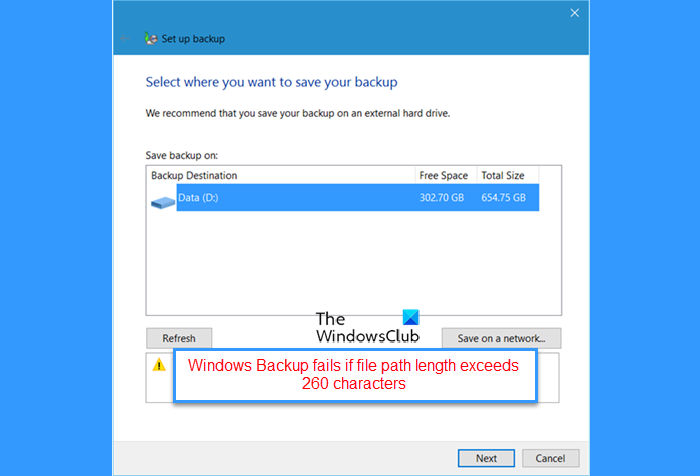 Windows Backup fails if file path length exceeds 260 characters