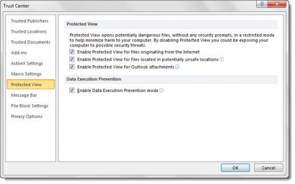 Disable Protected View in Microsoft Office