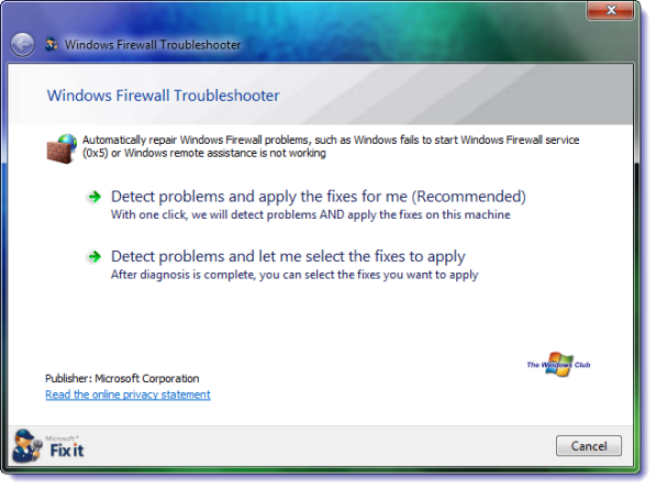 Windows Firewall Troubleshooter