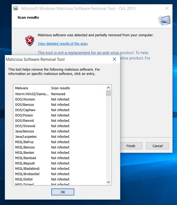 malicious software removal tool 10