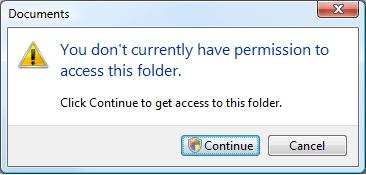 You don't currently have permission to access this folder