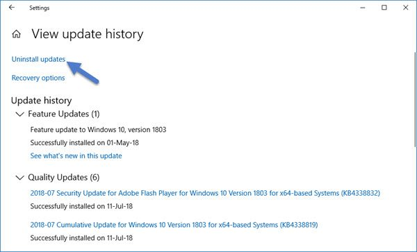Uninstall Windows 10 Updates