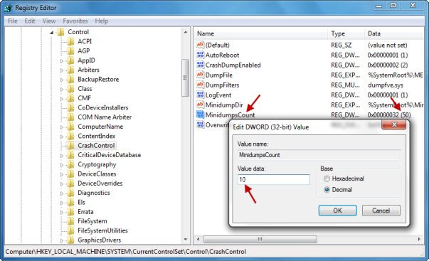 Change the number of Memory Dump Files Windows creates