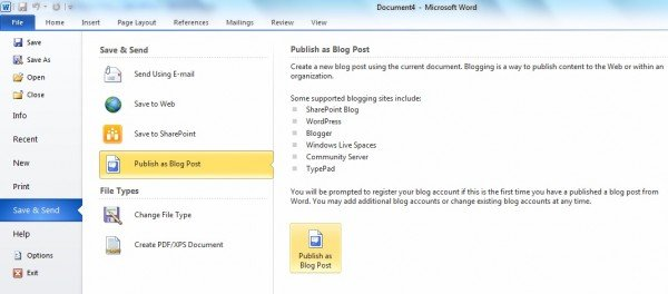 Use Word to publish your Blog posts