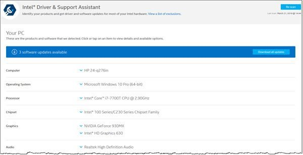 Intel Driver & Support Assistant