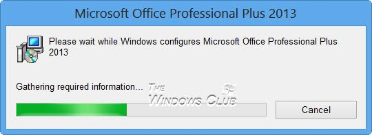 Please wait while Windows configures Microsoft Office