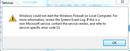 Windows could not start the Windows Firewall on Local Computer