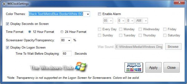 Download Windows 8 Clock Logon Screensaver for Windows 7  W8-settings-600x272