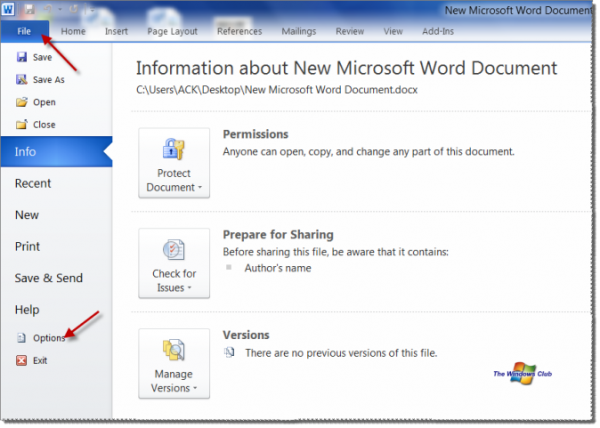 word 2010 options 600x428 Fix: Microsoft Word has stopped working