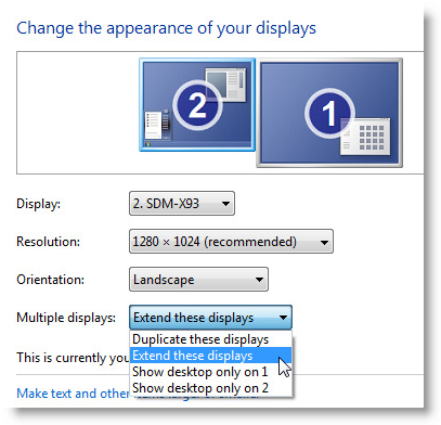 setup dual monitors in Windows 7