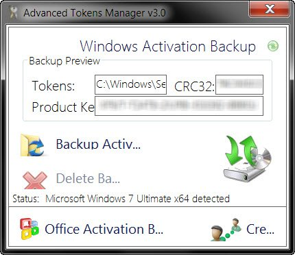 Backup Windows and Office Activation Tokens files
