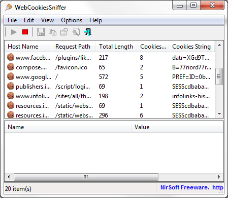 WebCookiesSniffer for Windows PC