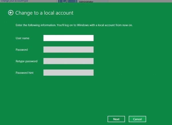 logon3 600x436 How to switch back to Local Account log on, from Live ID log on, in Windows 8