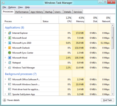 windows 8 task manager Evolution of the Task Manager   From Windows 3 to Windows 8
