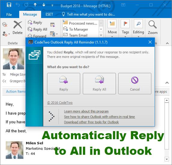 Automatically Reply to all in Outlook