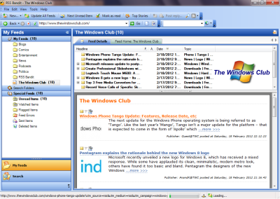 RSS Bandit1 400x284 Free RSS Readers for Windows