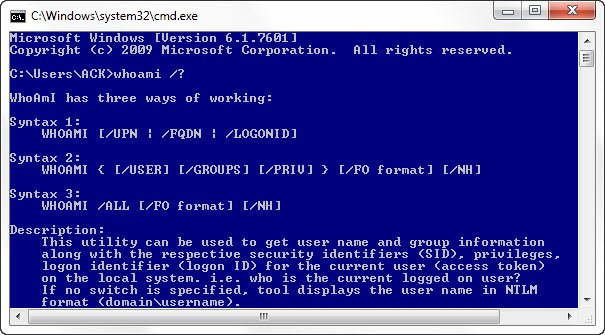 WHOAMI utility in Windows 10 and its use, syntax, commands