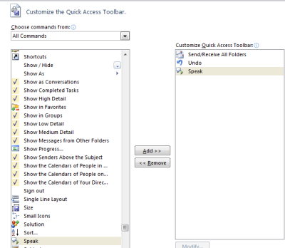 How To Add Speak Button MS Outlook 2010