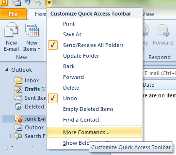 Add More Command Menu in MS Outlook