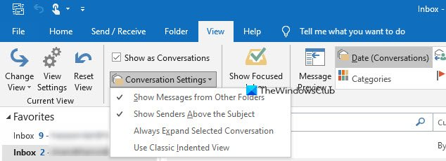 Conversation View in Outlook