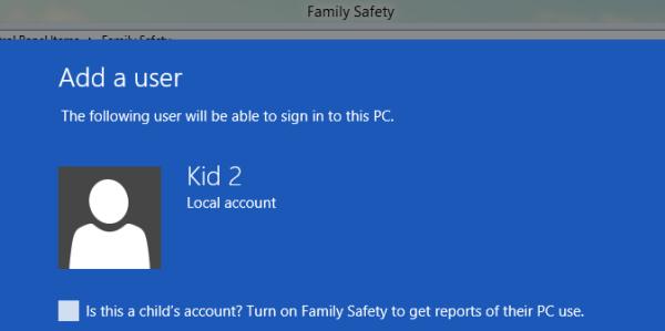 Set up Family Safety in Windows 8
