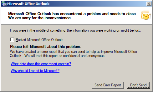 outlook encountered a problem and needs to close