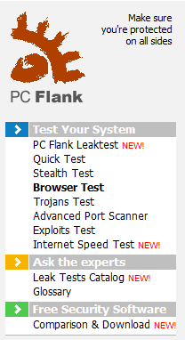 PCFlank Is My Browser Safe Browser Security Tests to check if your Browser is secure