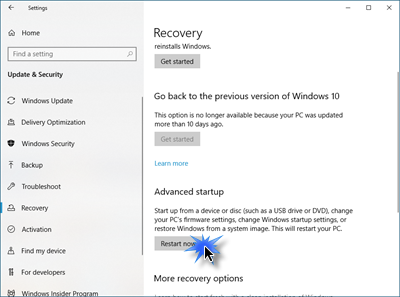 Show Advanced Boot Options or Menu in Windows 10