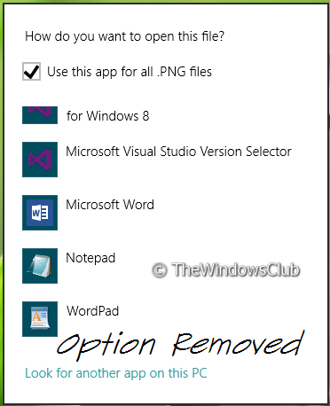 52058 1 Remove Look For An App In The Store option, from Choose Default Program menu in Windows 8