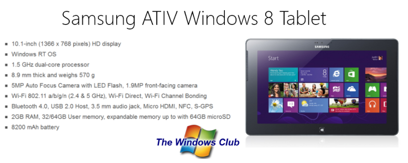 ATIV Windows 8 Tablet announced by Samsung
