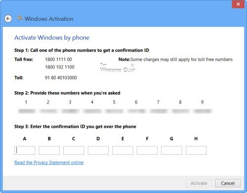 activate windows 8 by phone
