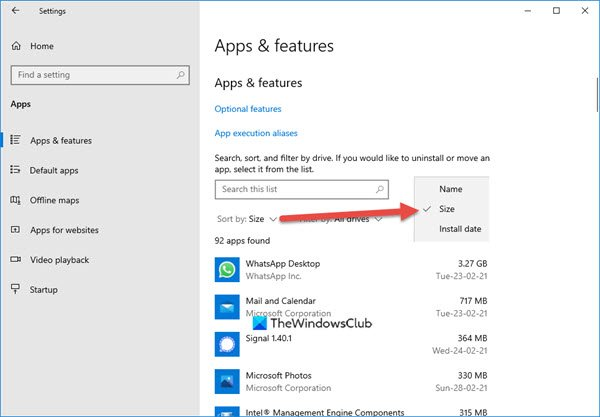 view app sizes windows 10