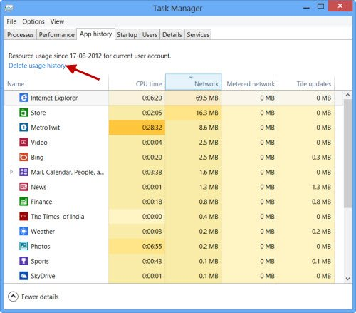 Delete Usage History of Apps in Windows 10