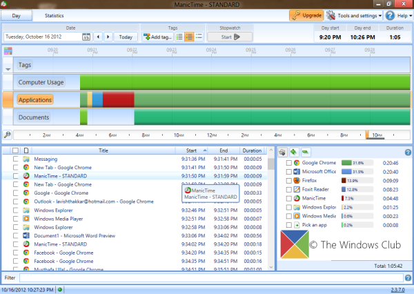 ManicTime is a free time tracking and management software for Windows 10