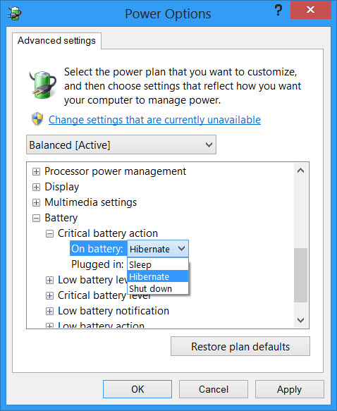 Change critical low level battery action in windows 10 here for each plan you can configure and set what your windows should do after its battery level drops below certain levels the options for while on ccuart Images