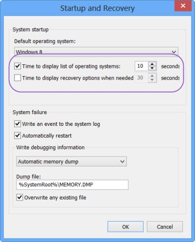 Change Time to display list of operating systems & Recovery Options