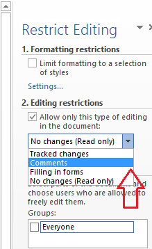 restrict editing - comments option