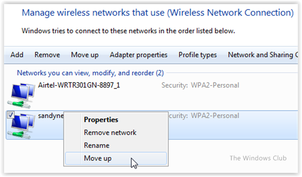 Change Wireless Network Connection priority