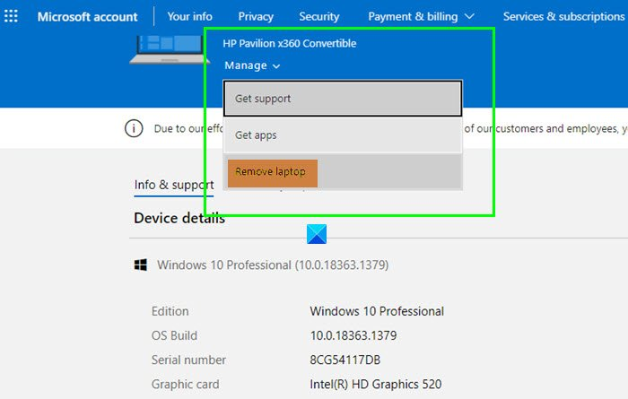 Remove Trusted PC from Microsoft Account