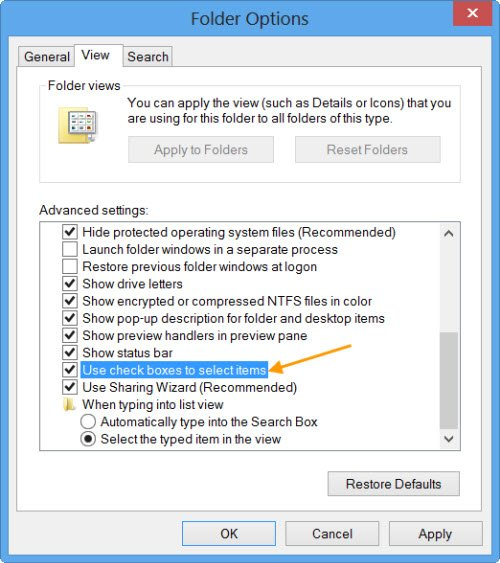 Use check boxes to select items in Explorer
