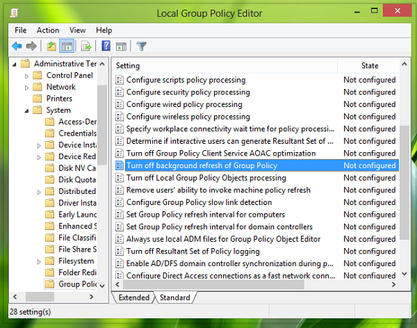 turn off group policy refresh